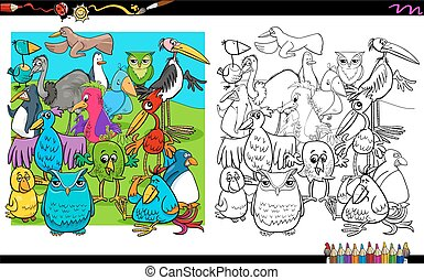 birds characters group coloring book - Cartoon Illustration...