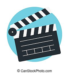 Clapperboard icon vector isolated on color background,...