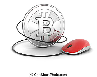 Bitcoin with computer Mouse. Image with clipping path