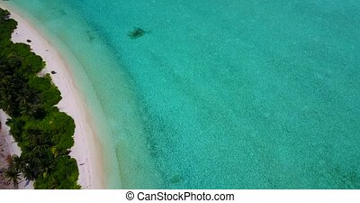 v05243 Aerial flying drone view of Maldives white sandy...