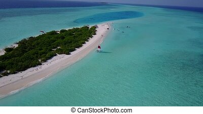 v05520 Aerial flying drone view of Maldives white sandy...