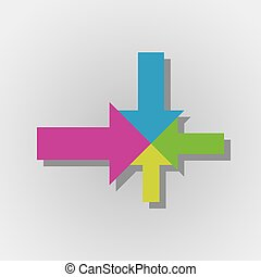 colorful arrows with one center