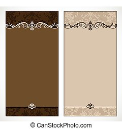 Vector Dual Brown Frame Set - Set of ornate vector frames...