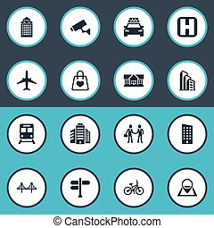 Vector Illustration Set Of Simple Public Icons. Elements...