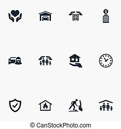 Vector Illustration Set Of Simple Safeguard Icons. Elements...