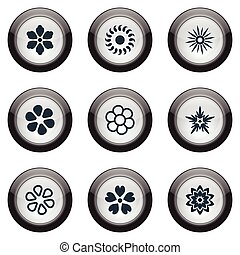 Vector Illustration Set Of Simple Blossom Icons. Elements...