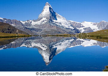 Tourists in front of the Matterhorn - A lot of tourists in...