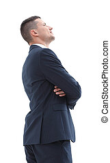 side view. confident businessman looking up. the concept of...