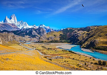 Amazing Patagonia. The white top of Fitzroy rocks covered...
