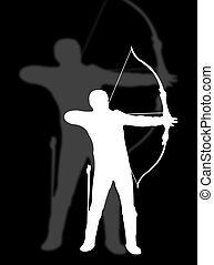 Archer man in silhouette to represent archer sport