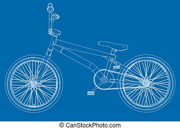 Bicycle bmx. Vector rendering of 3d. Wire-frame style. The...