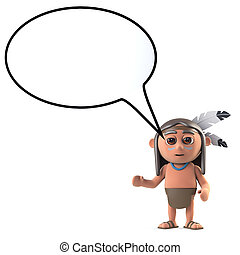 3d Funny cartoon Native American Indian with a speech...