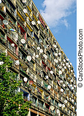 Satellite dishes in Berlin - Balconies with lots of...