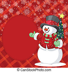 Snowman with Christmas tree place - Happy snowman with...