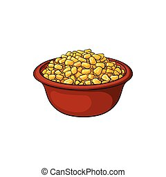 Hand drawn bowl of canned, tinned sweet corn, sketch style...