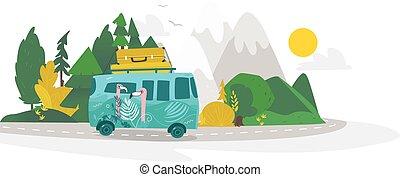 vector flat camping, road trip scene - vector flat cartoon...