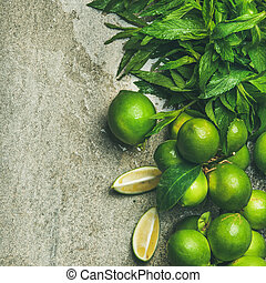 Flatlay of freshly picked limes and mint, square crop -...