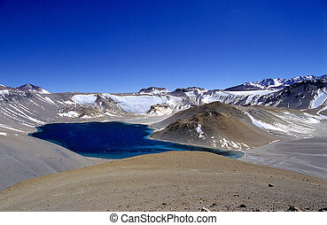 Crater Corona del Inca - The water filled crater Laguna del...