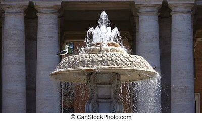 Vatican City State - fountain near St. Peter's Basilica...