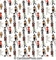 Halloween costumes pattern on the white background. Vector...