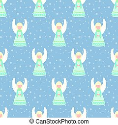 Christmas angel pattern on the blue background. Vector...