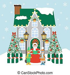 Christmas Carols singers on the blue background. Vector...