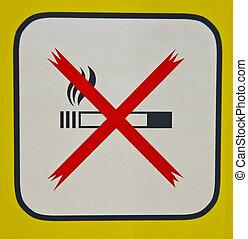 Non-Smoking sign - A non smoking sign with a yellow frame