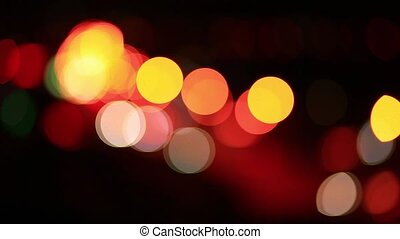 Night traffic lights - Night city traffic lights from cars
