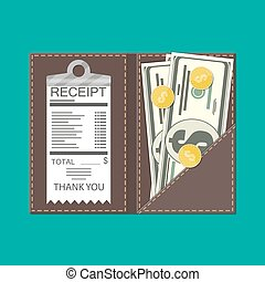 Leather folder with cash, coins and cashier check. Thanks...