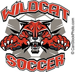 wildcat soccer team design with mascot and ball for school,...