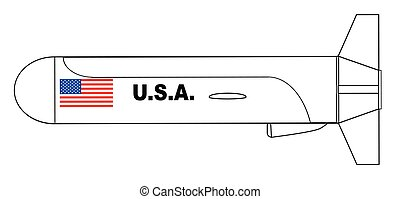 Flying Cruise Missile Outline Drawing - A cruise missile...