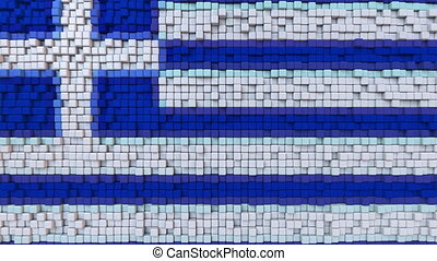 Stylized mosaic flag of Greece made of moving pixels,...