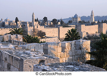 Old City of Jerusalem - View of the part of the Old City in...
