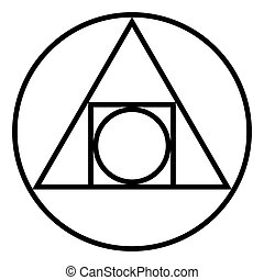 The Squared Circle, alchemical glyph and symbol - The...