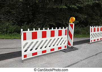 road works with barricade on the street