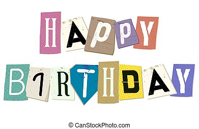 Happy Birthday Sign on Cropped Papers Vector