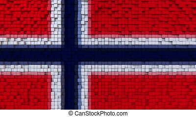 Stylized mosaic flag of Norway made of moving pixels,...