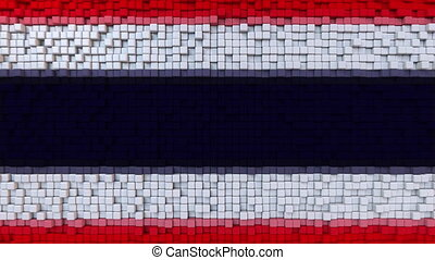 Stylized mosaic flag of Thailand made of moving pixels,...