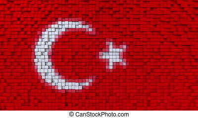 Stylized mosaic flag of Turkey made of moving pixels,...