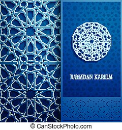 3d Ramadan Kareem greeting card,blue colore invitation...