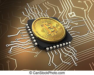 3d bitcoin with cpu - 3d illustration of bitcoin over...