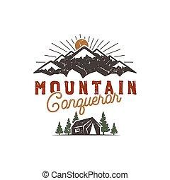 Traveling, outdoor badge. Scout camp emblem. Vintage hand...