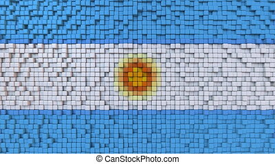 Stylized mosaic flag of Argentina made of moving pixels,...