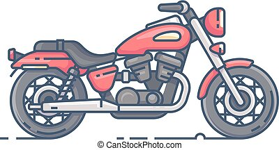 Cool biker motorcycle. Motobike chopper isolated on white...