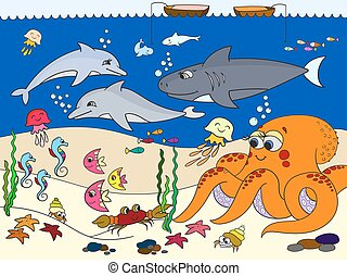 Seabed with marine animals. Vector for kids, cartoon. Fish,...