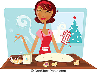 Woman baking christmas cookies - Woman / mom in red apron...
