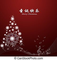 Abstract background of Merry Christmas card Text in Chinese...