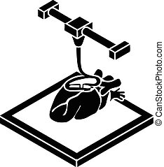 Heart d printing icon, simple style - Heart d printing icon....