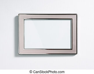 Silver picture frame, isolated on white - Silver picture...