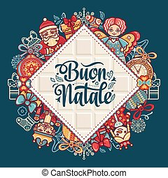 Buon Natale. Christmas template. Greeting card. Winter...